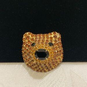 Vintage Bauer Bear Brooch With Swarovski Crystals